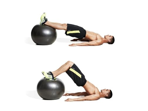 Hamstring curl on a gym ball (beginner)