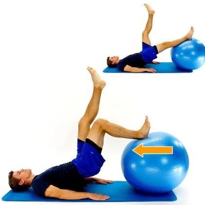 Hamstring curl on a gym ball (intermediate)