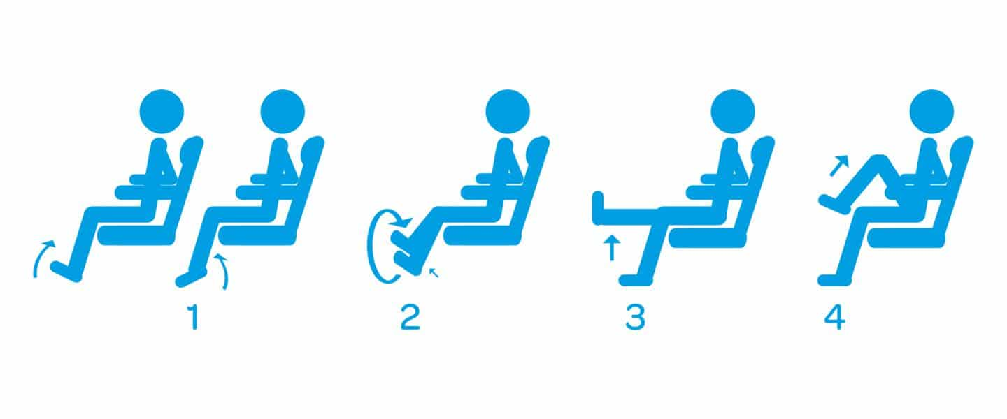 Seated stretches when flying